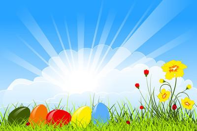 复活节贺卡与鸡蛋