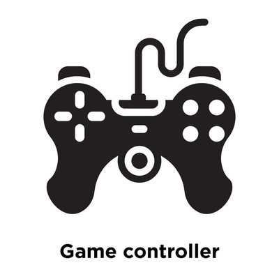 Game controller icon vector isolated on white background, logo concept of Game controller sign on transparent background, filled black symbol