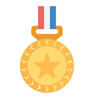 金牌平面矢量图标