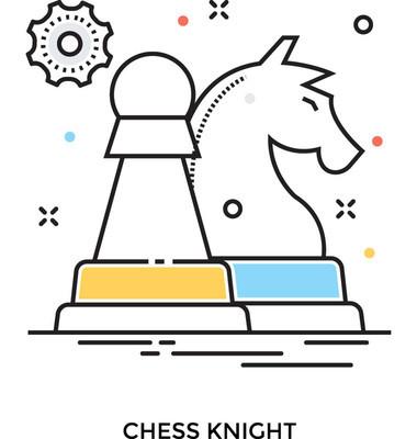 棋骑士彩色矢量图标