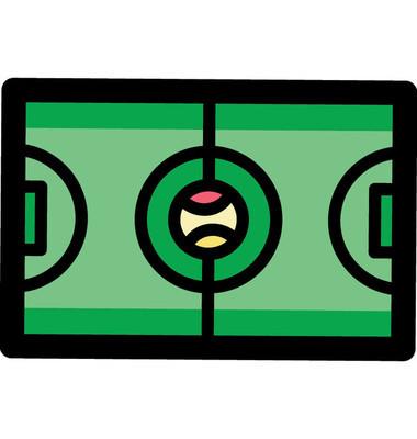 大网球场矢量图标。网球场的顶部视图与实际比例图形插图