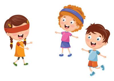 儿童玩盲人爱好者的矢量插画