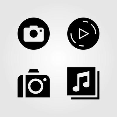 按钮图标设置。矢量插图播放按钮, 八分音符, 照片相机和按钮