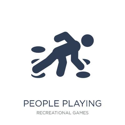 玩扭曲图标的人。时尚的平面矢量人们在白色背景上玩扭曲图标从娱乐游戏集合, 矢量插图可以用于网络和移动, eps10