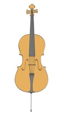 大提琴的二维卡通 illustraion