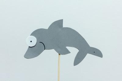 白色背景上的 eva 发泡灰色海豚