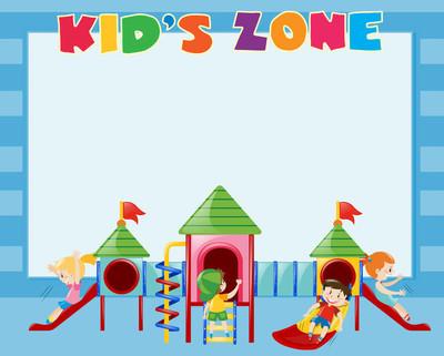 边框模板与孩子们玩在幻灯片上
