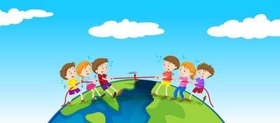孩子们在地球上玩拔河