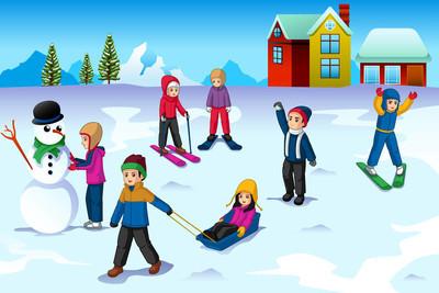 儿童玩外面在冬天矢量图