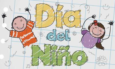 在西班牙庆祝儿童节,矢量图可爱幼稚绘图