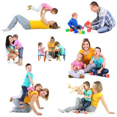 设置的照片的幸福的家庭