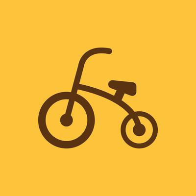 三轮车图标。设计。自行车、 自行车、 三轮车的象征。web。图形。Ai。应用程序标识。对象。平。图像。标志。eps。艺术。图片-股票