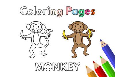 卡通猴着色书