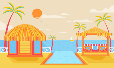 Illustration of happy sunny summer day at beach, bungalows on water, island with infinity pool, palm trees in flat style