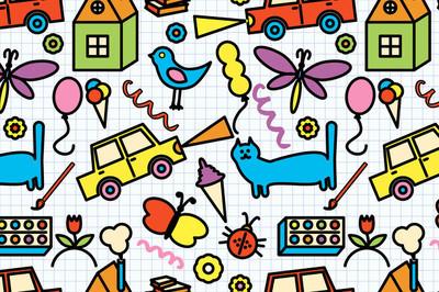 无缝模式与涂鸦儿童绘画