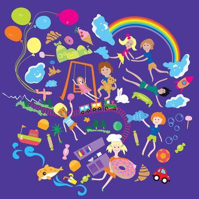 Children play in the big world with toys and animals and cook