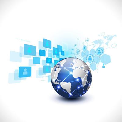 媒体网络符号为通信 & 技术经营理念与世界隔离白色背景,矢量图