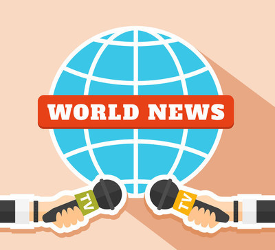 World news concept vector illustration in flat style. Two hands hold microphones and the blue globe symbol on the background. World news template. TV and Press illustration