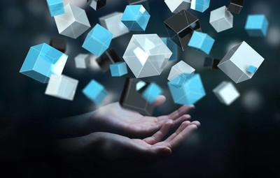 商人持有浮动蓝色发亮的多维数据集网络 3d 楼效果图
