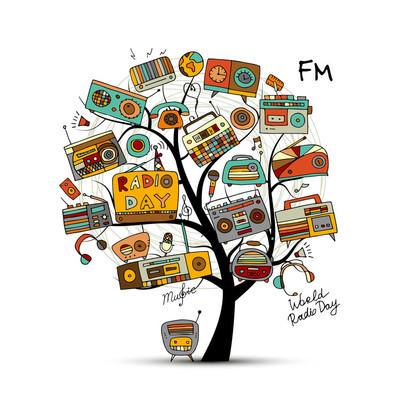 老式收音机树,为您设计素描
