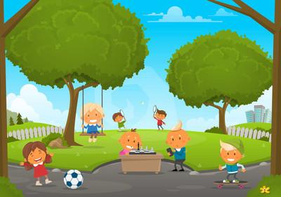 夏公园与孩子
