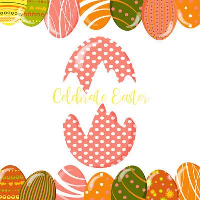 可爱的复活节彩蛋贺卡