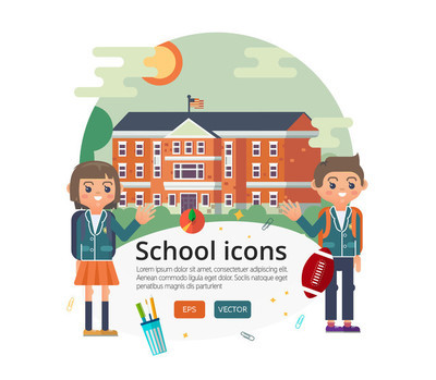 Vector education cover design. Illustration of primary or elementary, middle  high school facade on sun landscape