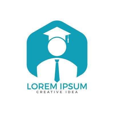 学生标志设计。教育标志。机构与教育矢量标志设计
