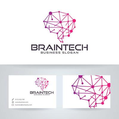 脑科技矢量 logo 与名片模板