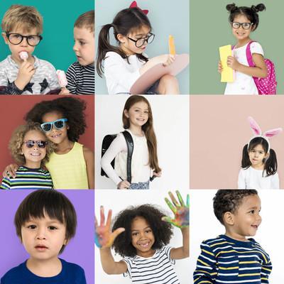 拼贴与多样性的孩子