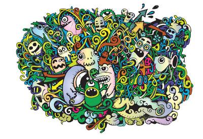 疯狂的涂鸦怪物涂鸦绘画风格