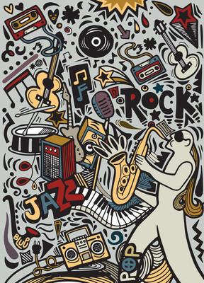 手绘涂鸦音乐海报模板。抽象的音乐背景和目标