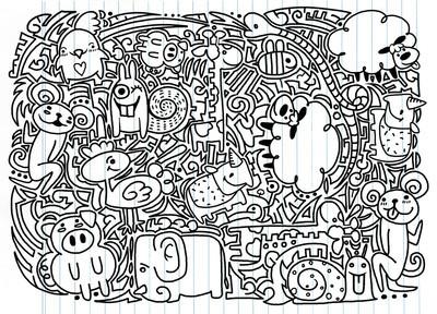 图纸的涂鸦动物矢量