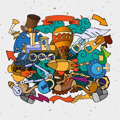 Hand-drawn Steam punk elements
