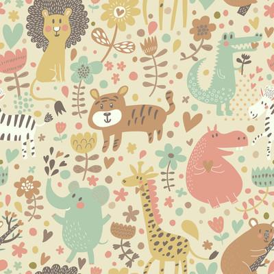 野生动物可爱无缝花纹