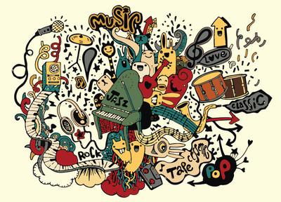 音乐背景。手绘涂鸦,矢量图