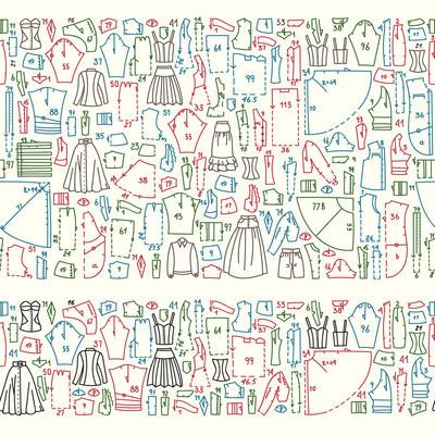 无缝涂鸦与衣服和缝纫图案边界