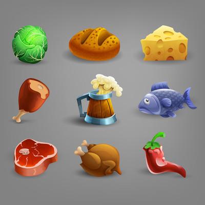 食物和饮料的卡通图标