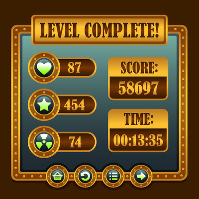 游戏的蒸汽朋克级别完成图标