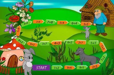 卡通矢量插画教育数学游戏。几个