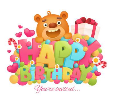 生日快乐贺卡与卡通玩具熊