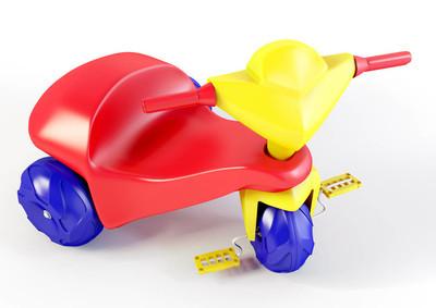 一个塑料三轮车玩具的3d 插图