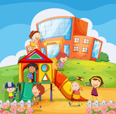 孩子们在学校的操场上玩