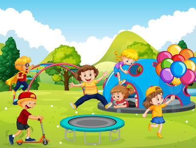 孩子们在操场上玩耍插图