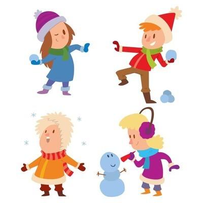 圣诞节孩子们玩耍冬季运动会