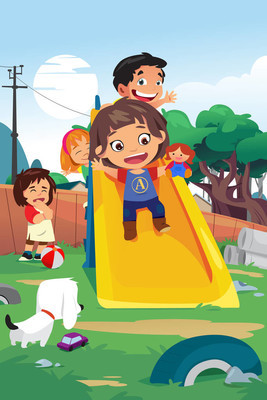 孩子们在操场上图中玩耍