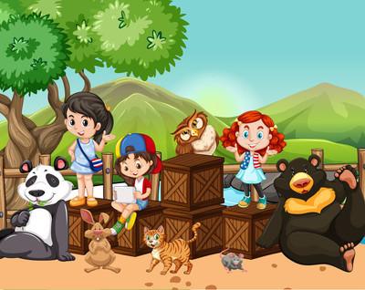儿童和外面的野生动物