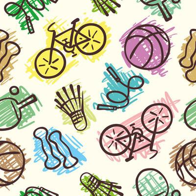 Sports elements seamless pattern
