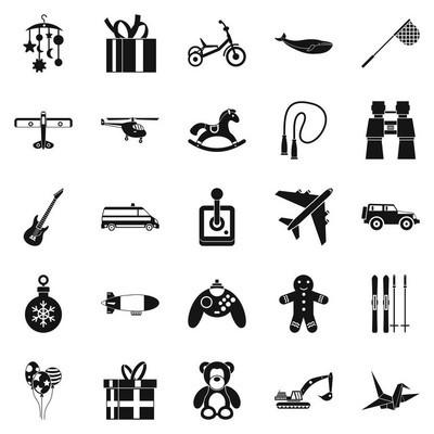现代玩具图标套装, 简约风格