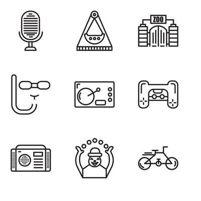 设置9个简单的可编辑图标, 如自行车, 猴子, 收音机, 游戏机, 咖啡, 潜水面具, 动物园, 旋转木马, 麦克风